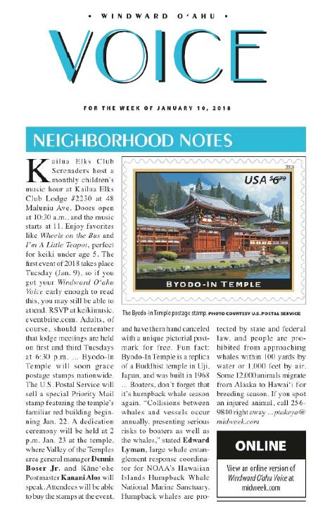NorthStar in the Oahu Voice for Byodo-In Temple stamp dedication