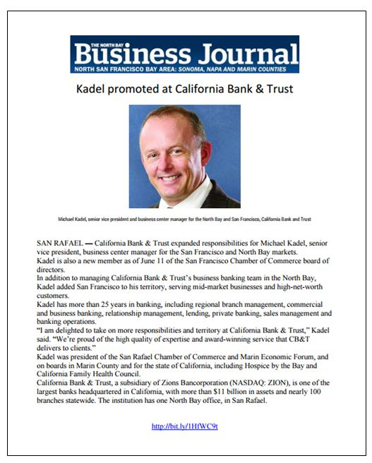 CB&T Kadel North bay Business Journal