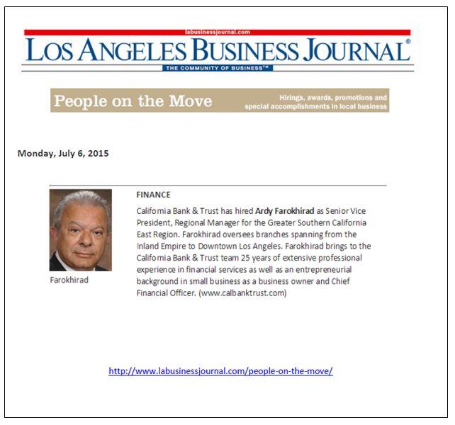 CB&T LA Biz Journal