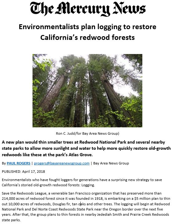 The Mercury News covers the League's new Redwoods Rising program.