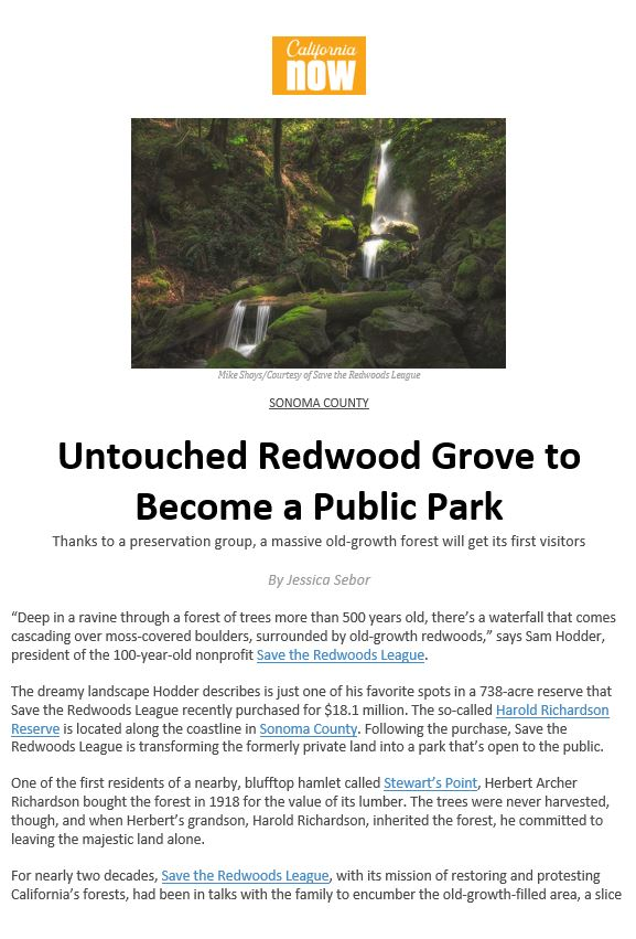 Visit California highlights Save the Redwoods League's new property Harold Richardson Redwoods Reserve