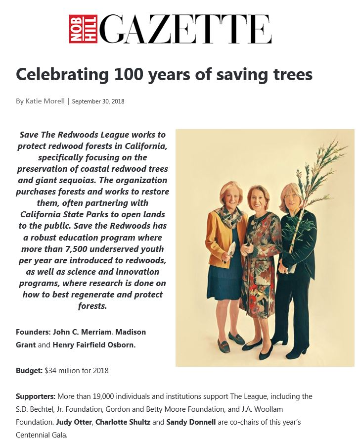 Save the Redwoods League in the Nob Hill Gazette
