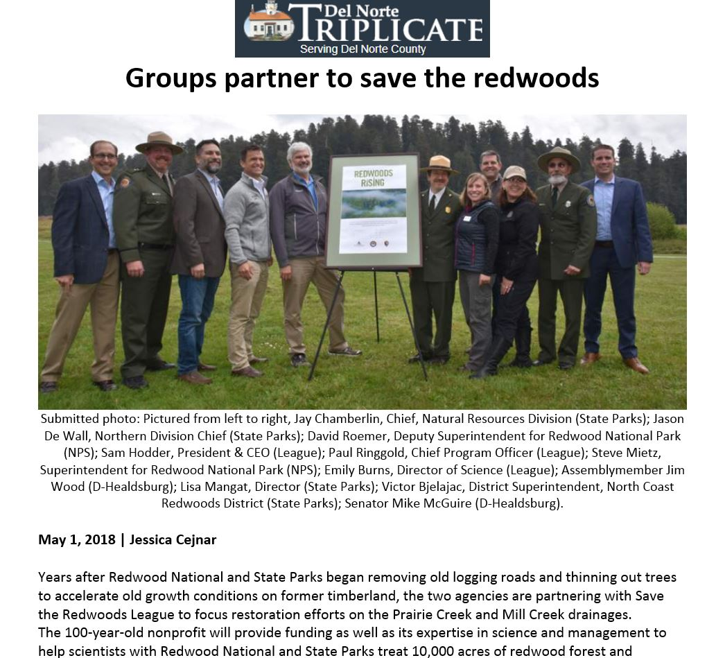 Save the Redwoods League featured on the Del Norte Triplicate