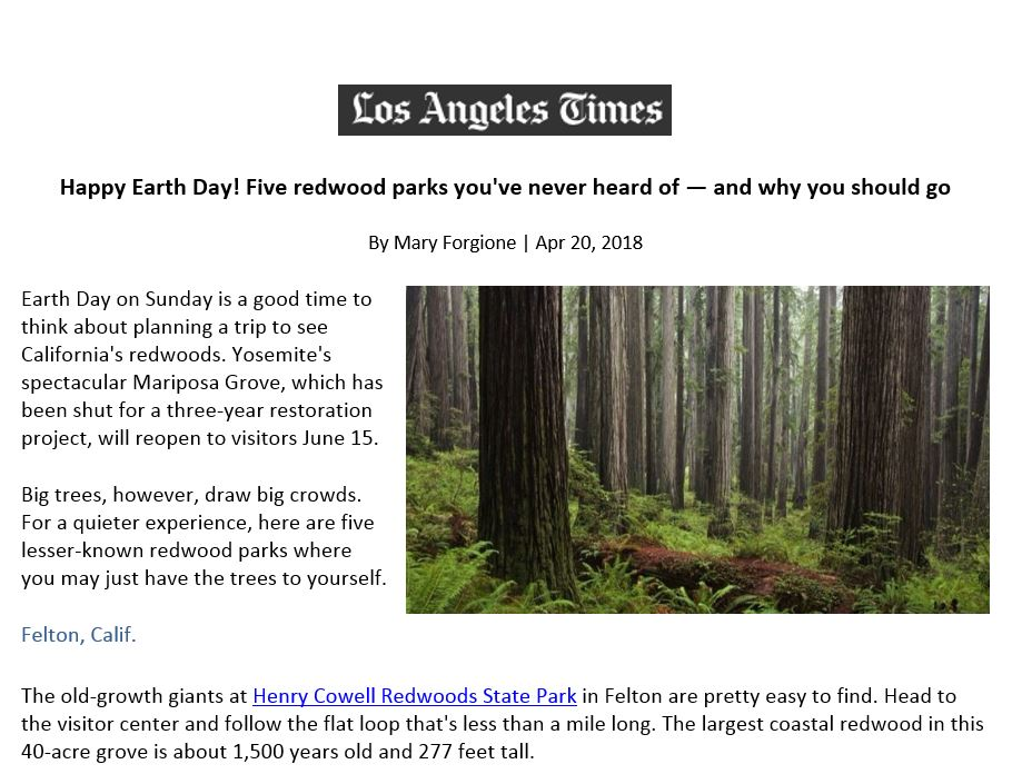 The Los Angeles Times highlights 5 redwood parks you've never heard of
