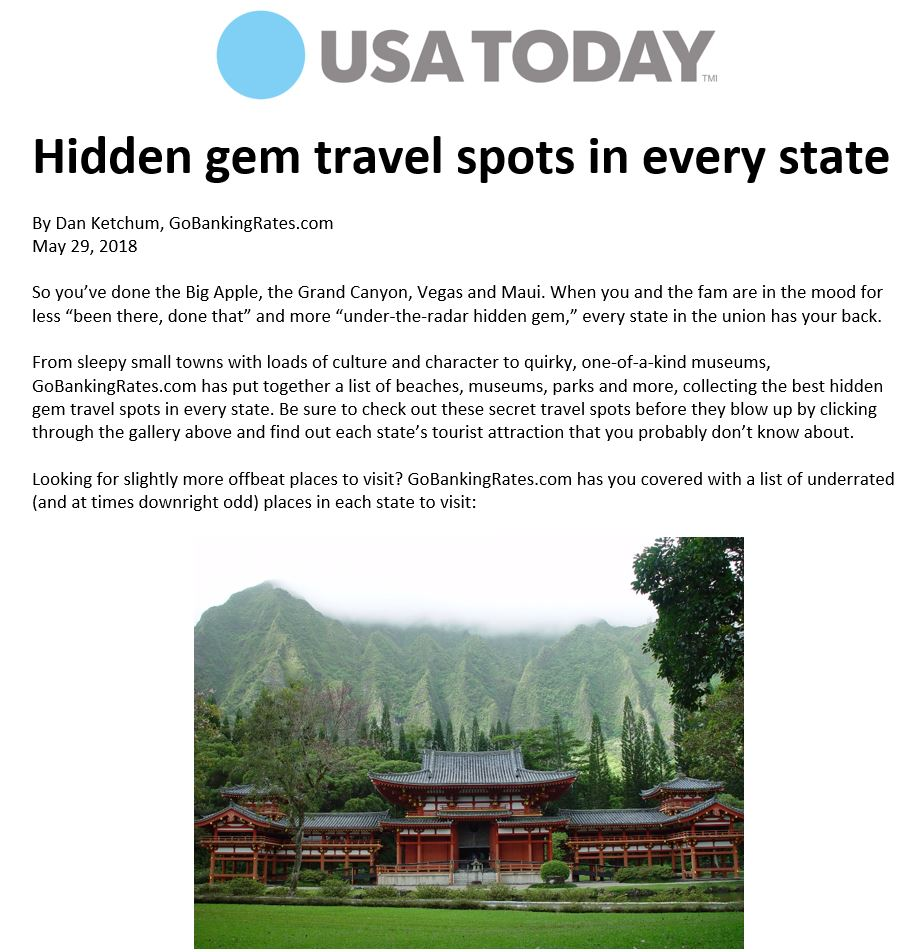 Byodo-In Temple listed in USA TODAY 50 state hidden gems