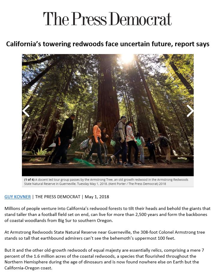 Save the Redwoods League featured in the Press Democrat for its State of the Redwoods Conservation Report findings.
