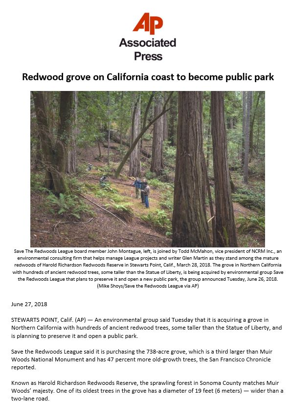 The AP highlights Save the Redwoods League's purchase of Richardson Redwoods Reserve.