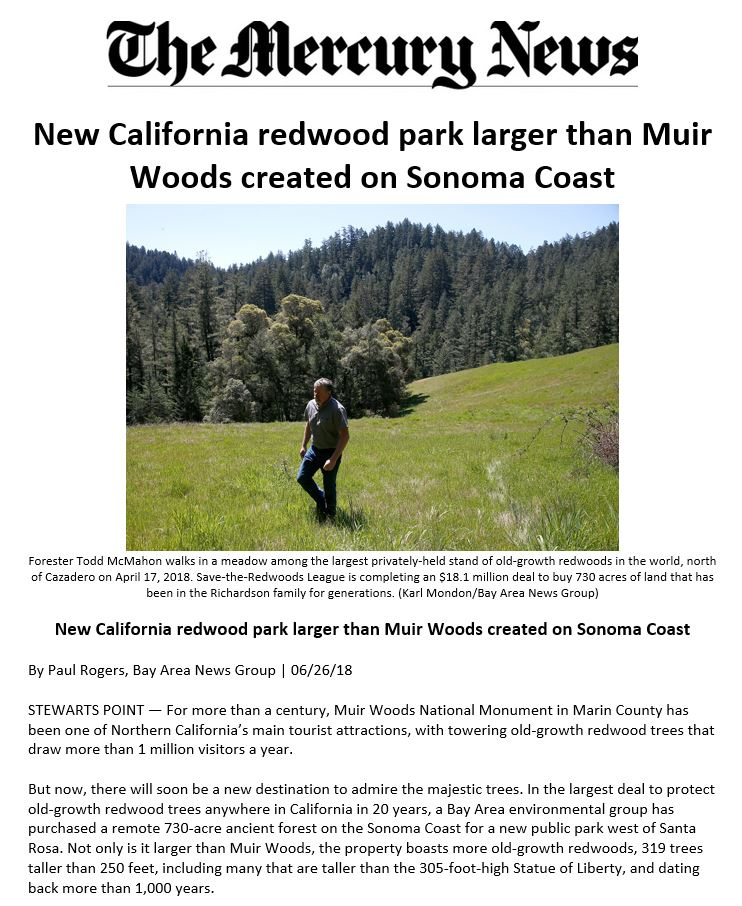 Save the Redwoods League is acquires Richardson Reserve.