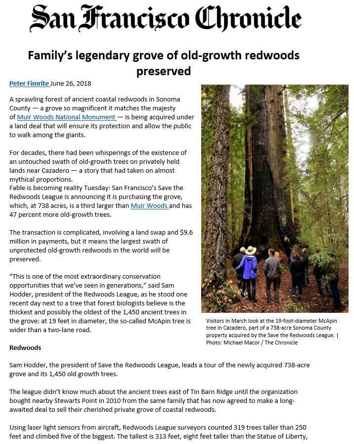 The San Francisco Chronicle highlights Save the Redwoods recent acquisition of Richardson Redwoods Reserve.