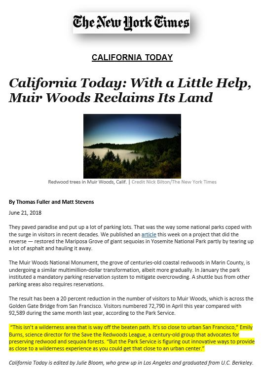 Save the Redwood League's Emily Burns quoted in article about Muir Woods restoration.