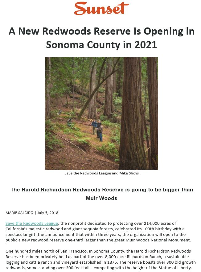 Save the Redwoods League will turn Harold Richardson Redwoods Reserve into a public park in 3 years.