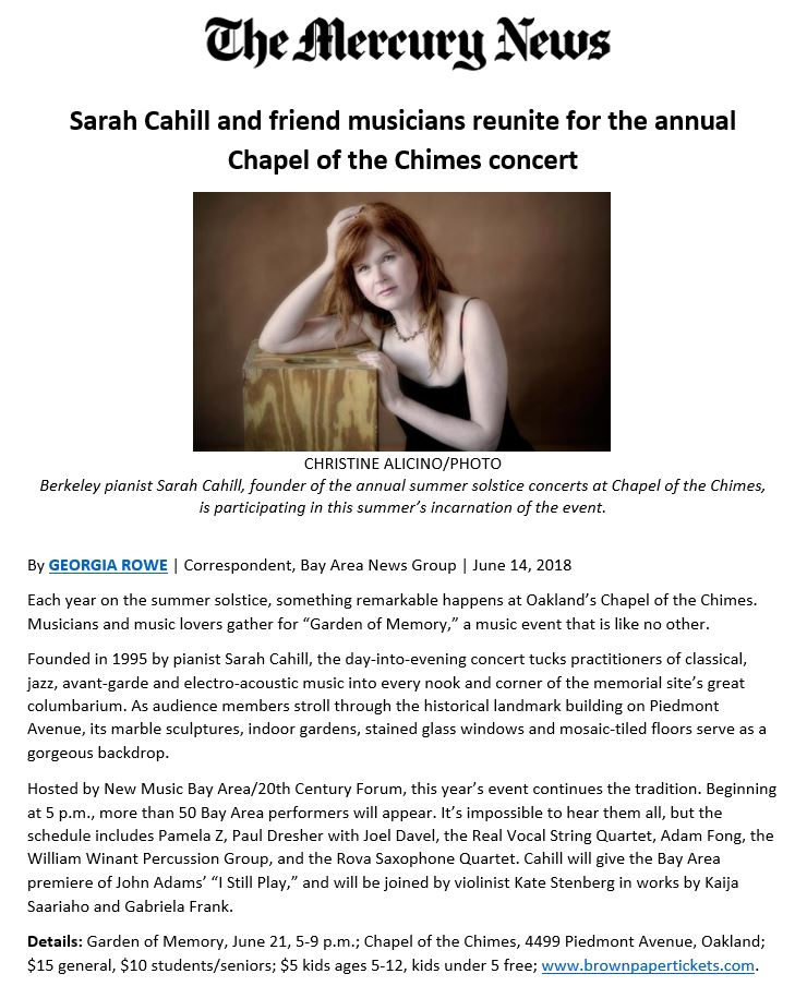 Sarah Cahill and Garden of Memory concert featured in The Mercury News,