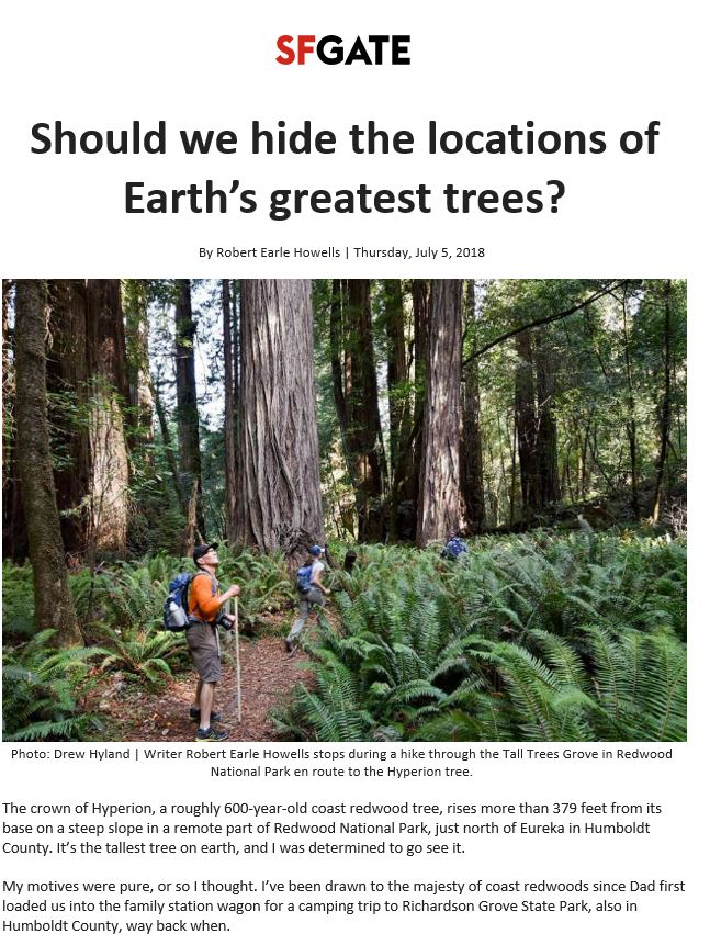 SFGate covers the naming of superlative trees and includes Save the Redwoods League's point of view that trees should be given no name.