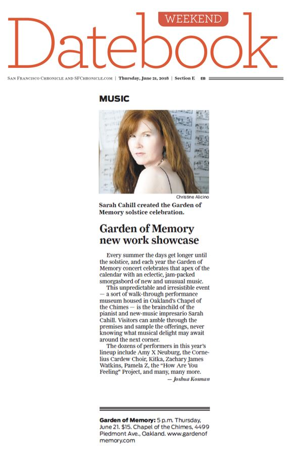 Garden of Memory highlighted in the San Francisco Chronicle's Datebook