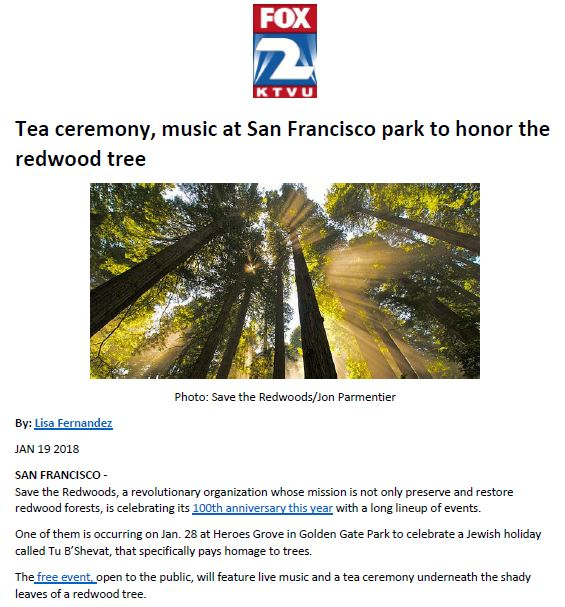 Save the Redwoods League in KTVU-TV (FOX) San Francisco Bay Area