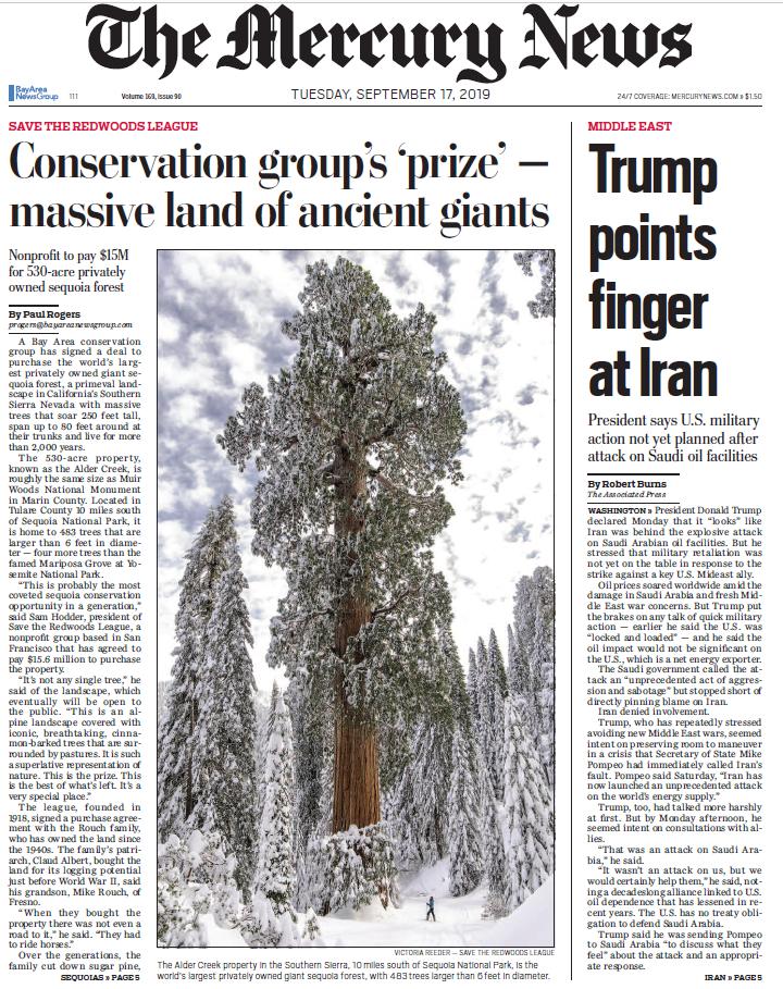 Mercury News Save The Redwoods League