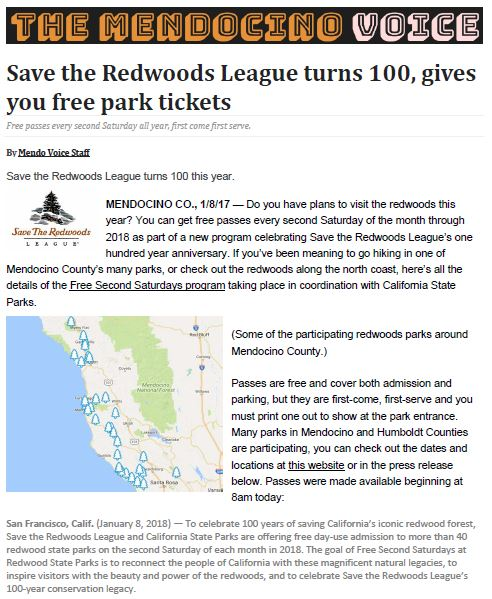 Save the Redwoods League in the Mendocino Voice