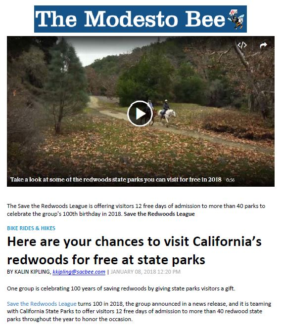 Save the Redwoods League in the Modesto Bee
