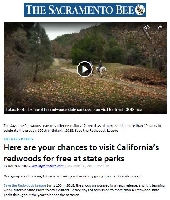 Save the Redwoods League in the Sacramento Bee