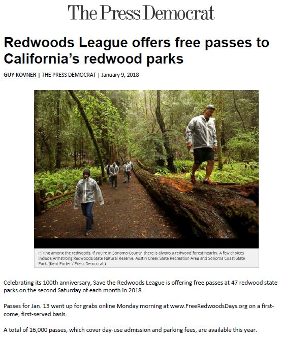 Save the Redwoods League in the Press Democrat