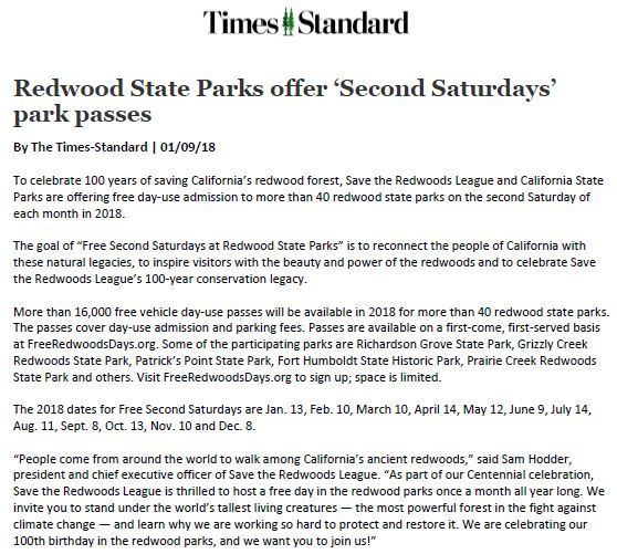 Save the Redwoods League in the Times-Standard
