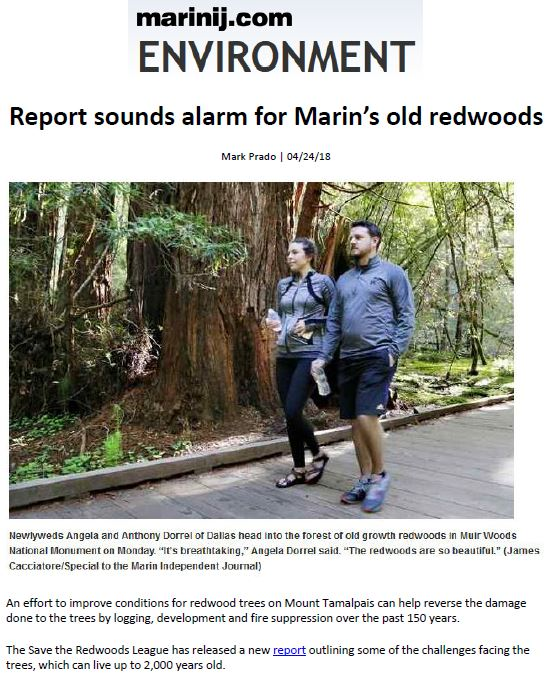 Coverage for Save the Redwoods League in the Marin Independent Journal