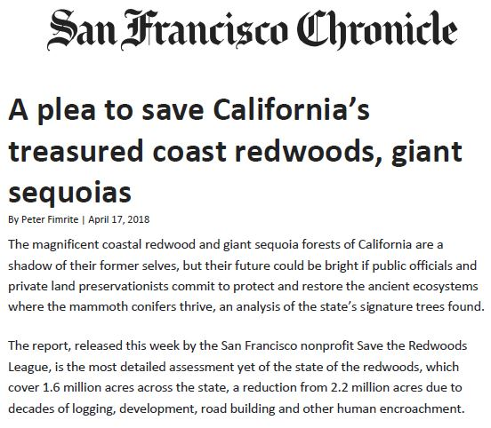 Coverage for Save the Redwoods League in the San Francisco Chronicle