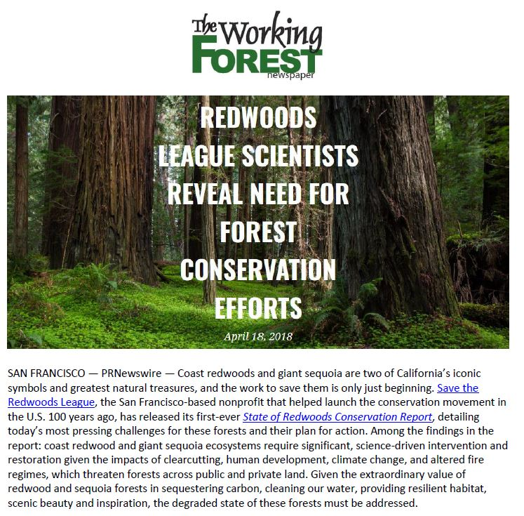 Coverage in The Working Forest for Save the Redwoods League