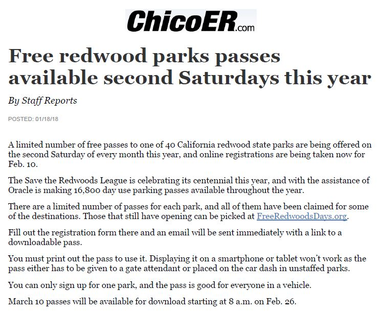 Save the Redwoods League in Chico ER