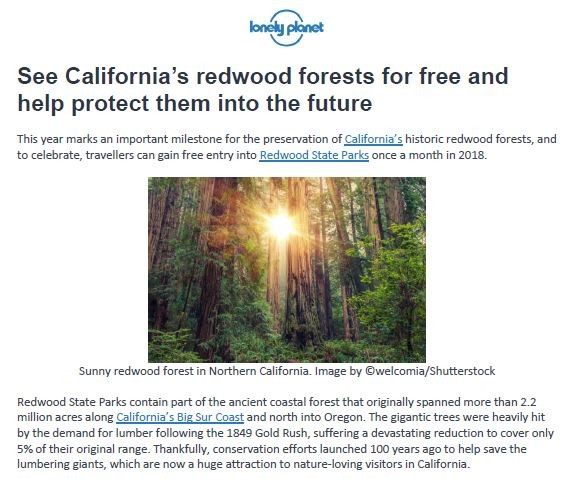 Save the Redwoods League in Lonely Planet