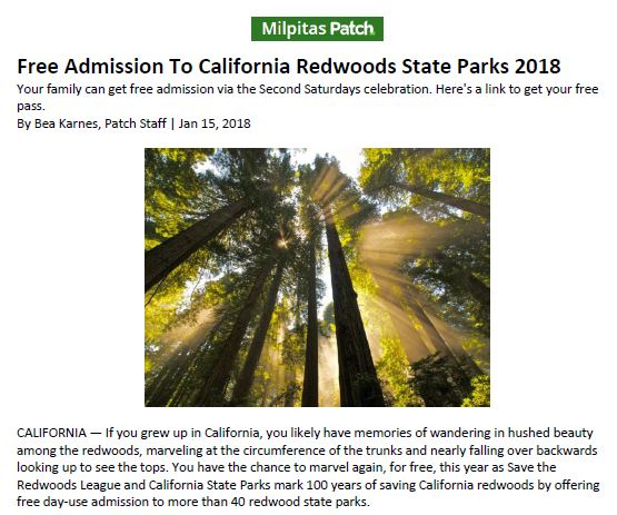 Save the Redwoods League in Milpitas Patch