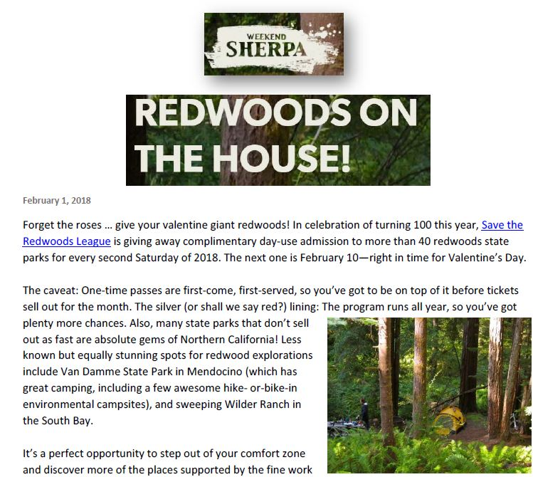Save the Redwoods League is featured in Weekend Sherpa for giving away free admission to state parks