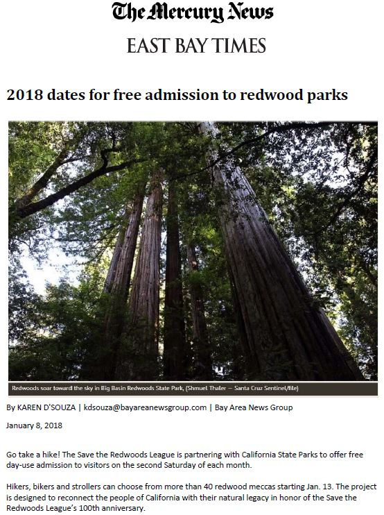 Save the Redwoods League in the San Jose Mercury News