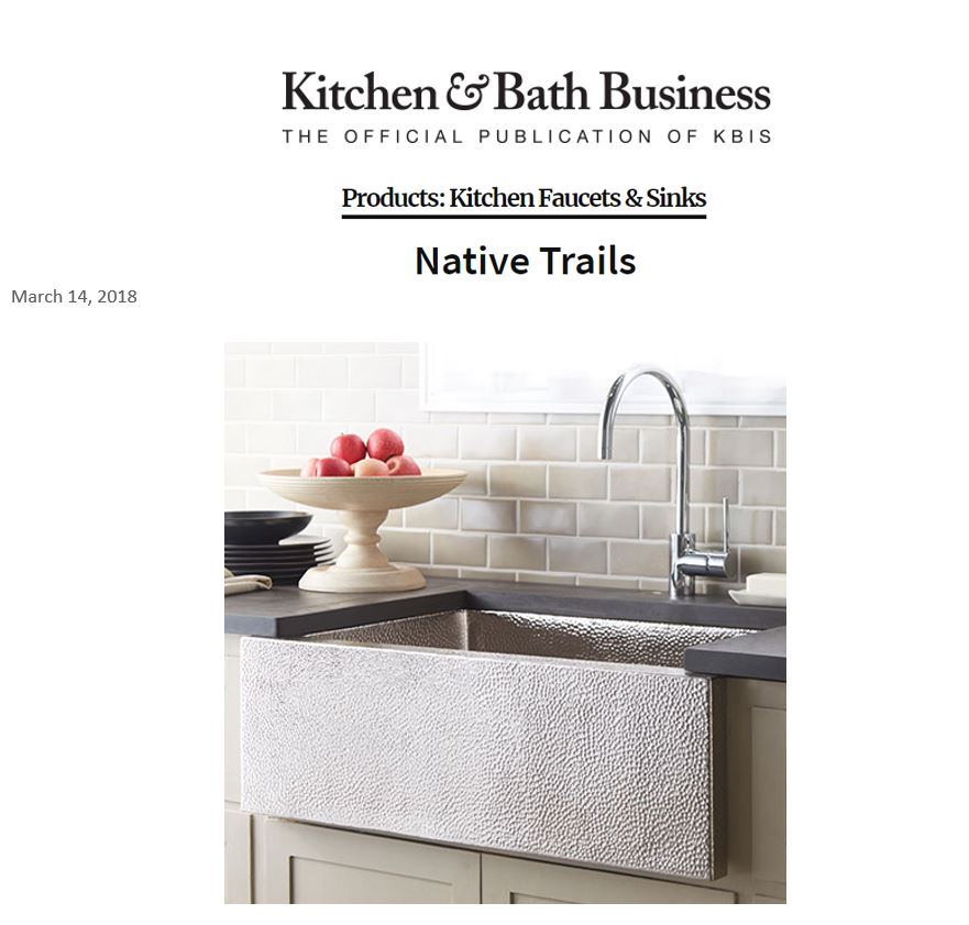 Native Trails' Pinnacle sink in Brushed Nickel featured as a timeless farmhouse sink design.
