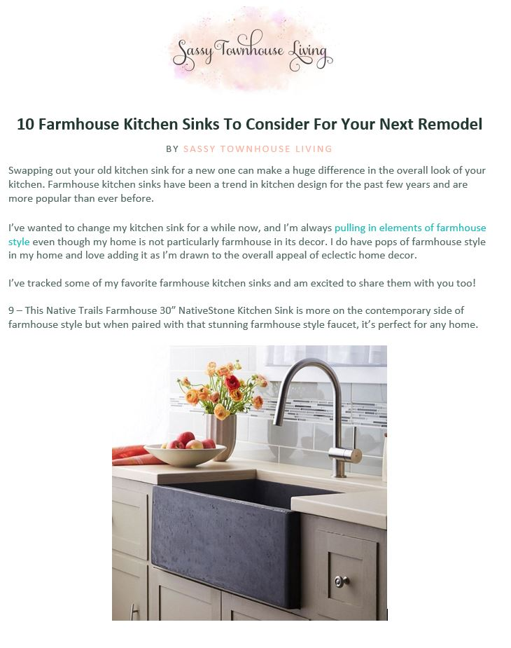 Native Trails Farmhouse 3018 sink is featured on the blog, Sassy Townhouse Living