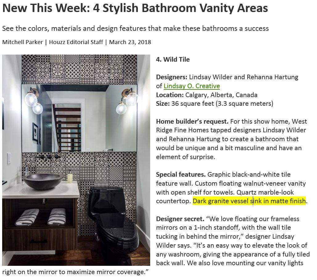 Native Trails' Morro sink in slate featured in Canada bathroom renovation