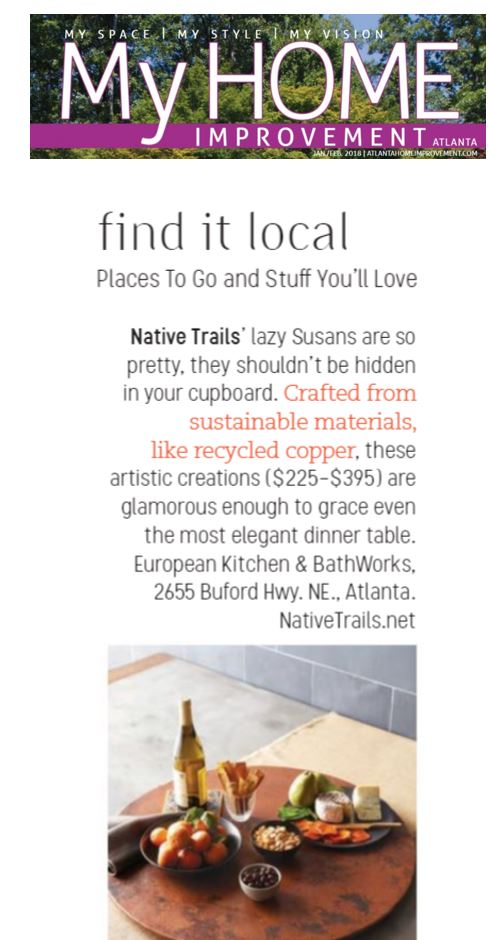 Native Trails lazy susan featured in My Home Improvement Atlanta