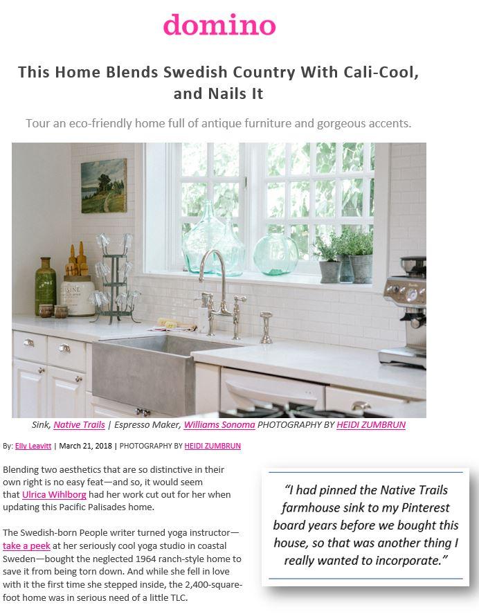 Designer renovation featured on Domino.com.