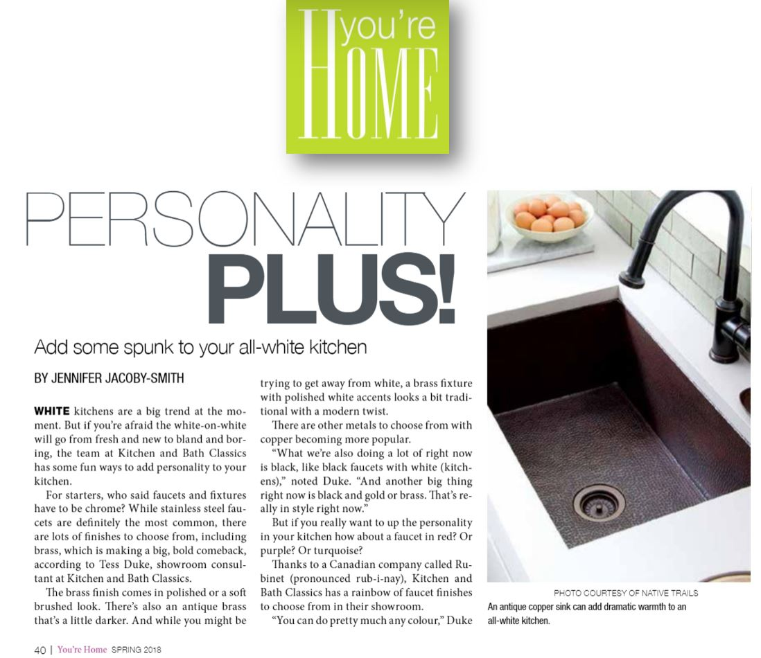 A Native Trails copper sink featured in You're Home Magazine.