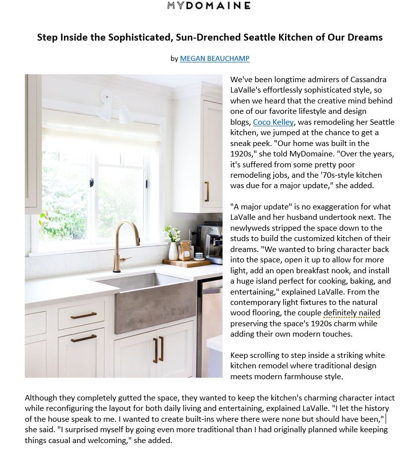 Native Trails Farmhouse 3018 sink featured in Seattle renovation on MyDomaine.com.