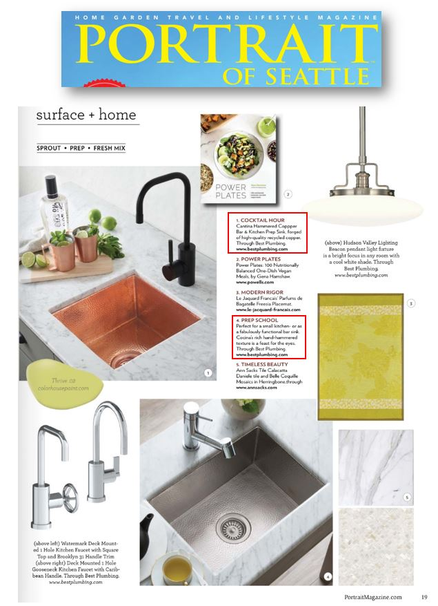 Native Trails' bar & prep sinks are featured in Portrait Magazine.