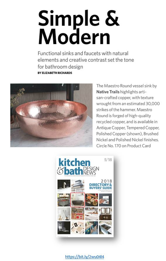 Native Trails featured in Simple & Modern article about bathroom design in Kitchen & Bath Design News.