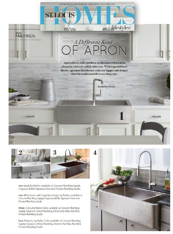 Native Trials coverage in St Louis Homes & Lifestyles featuring brushed nickel Farmhouse Sinks