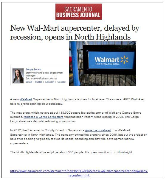 Walmart Sac Biz Journal north highlands