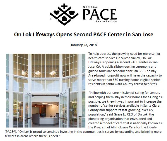 On Lok appears in the National PACE Association for its new PACE center in San Jose