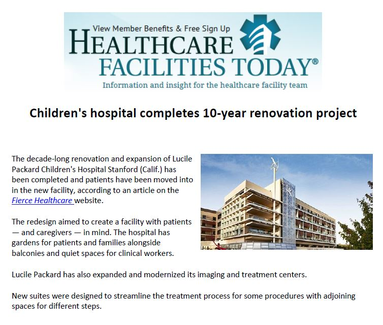 Lucile Packard Children's Hospital Stanford in Healthcare Facilities Today