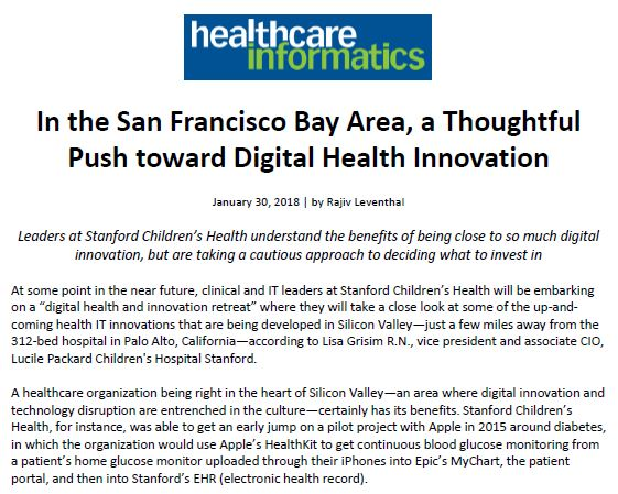Lucile Packard Children's Hospital Stanford featured in Healthcare Informatics re: digital innovation