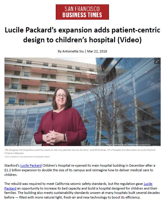 Lucile Packard Children's Hospital Stanford wins the San Francisco Business Times' Real Estate Deals of the Year award