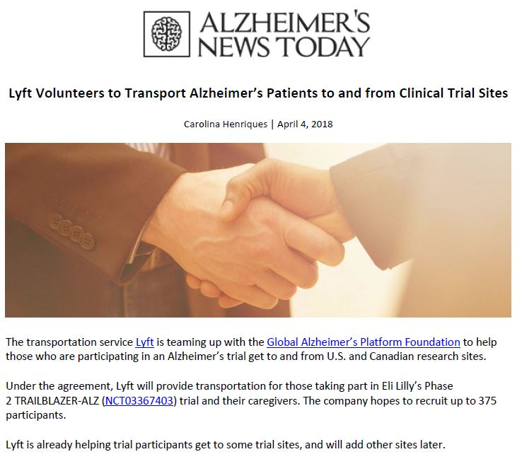 Alzheimer's News Today covers the partnership between Global Alzheimer's Platform Foundation and Lyft