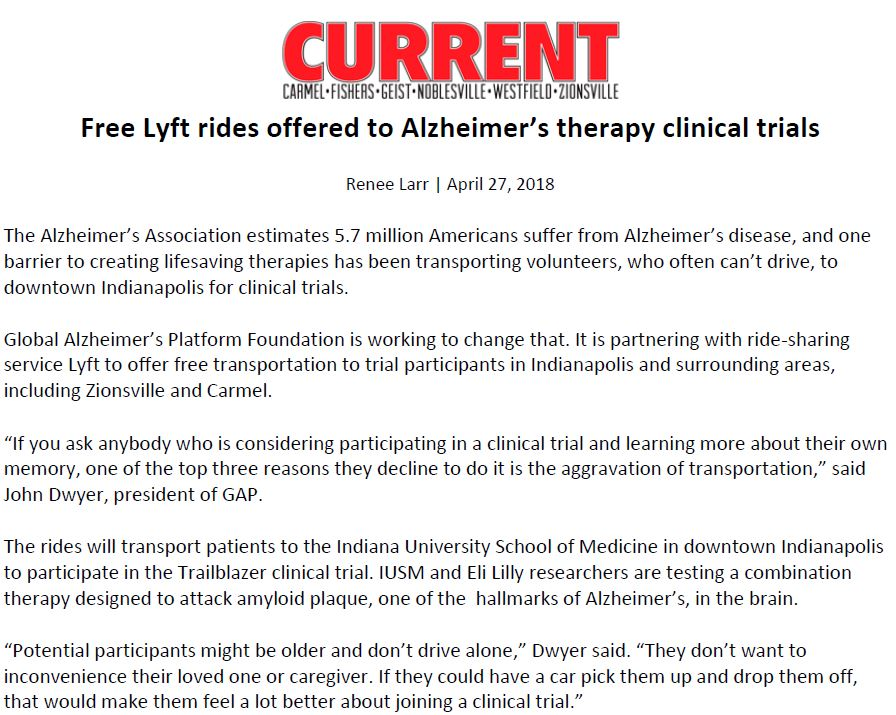 Current newspaper in Indianapolis shares news of the partnership between the Global Alzheimer's Platform Foundation and Lyft